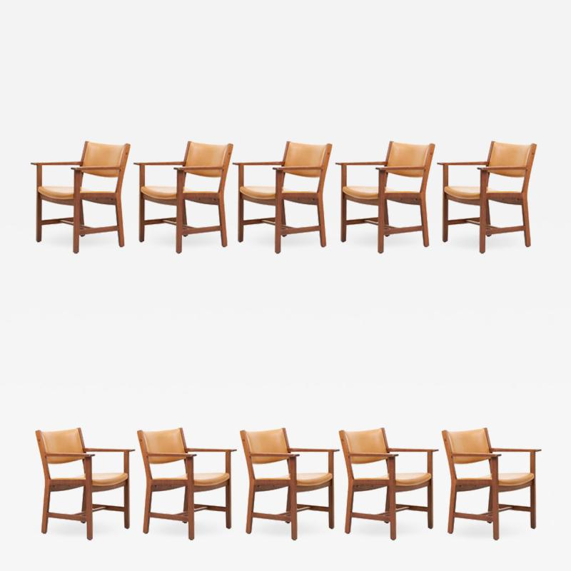 Hans Wegner Set of Ten GE 1960s Armchairs in Leather by Hans Wegner for by GETAMA Denmark
