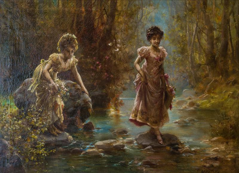 Hans Zatzka A Fine Oil Painting of Two Beauties Crossing the Stream