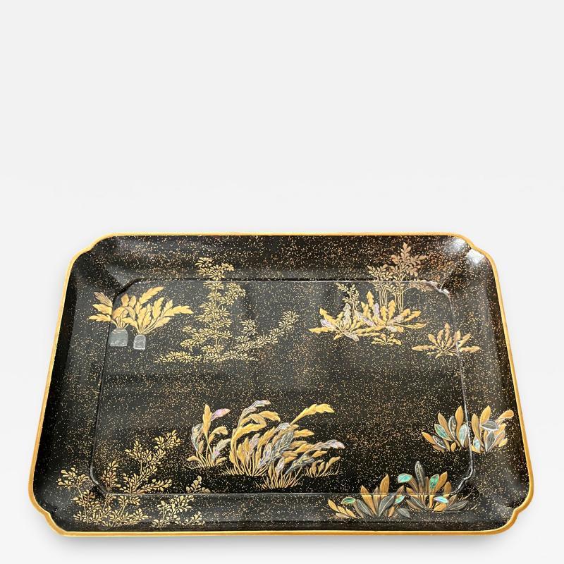 Hara Yoyusai Japanese Lacquer Tray with Maki e and Inlay Hara Yoyusai Edo Period