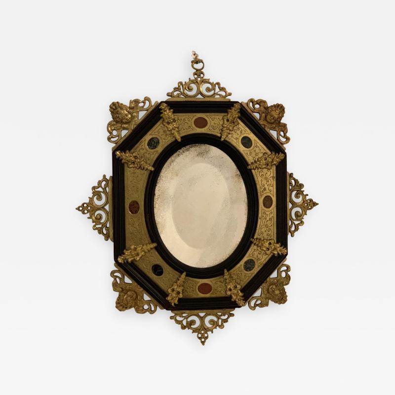 Hard stone and Gilded Ebony Mirror