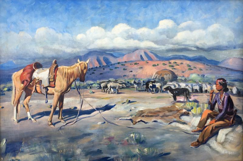 Harold Harrington Betts Navajo Man with his Horse