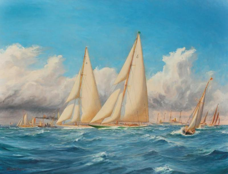 Harold Wyllie A rare painting of 1930 America s Cup racing off Newport signed Harold Wyllie