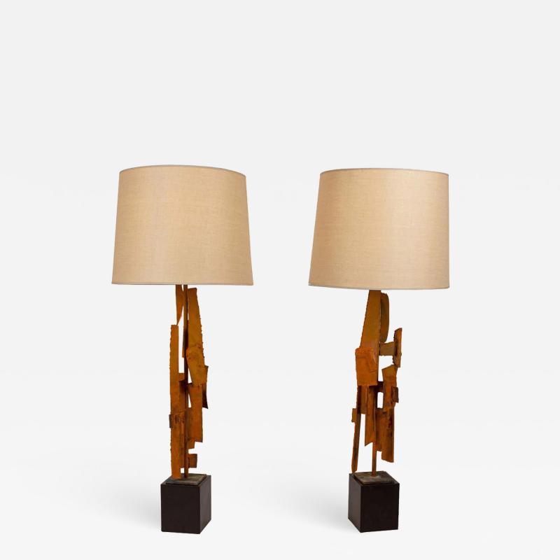 Harry Balmer Harry Balmer Abstract Sculpture Lamps in Oxidized Corten Steel for Laurel 1960s
