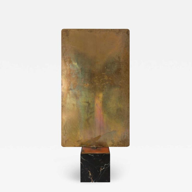 Harry Bertoia Harry Bertoia Silicon Bronze Brass Hollow Gong on Wood Base with Mallet 1972