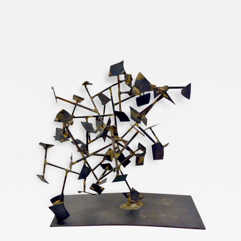 Harry Bertoia Unique Welded Steel and Brass Sculpture by Harry Bertoia