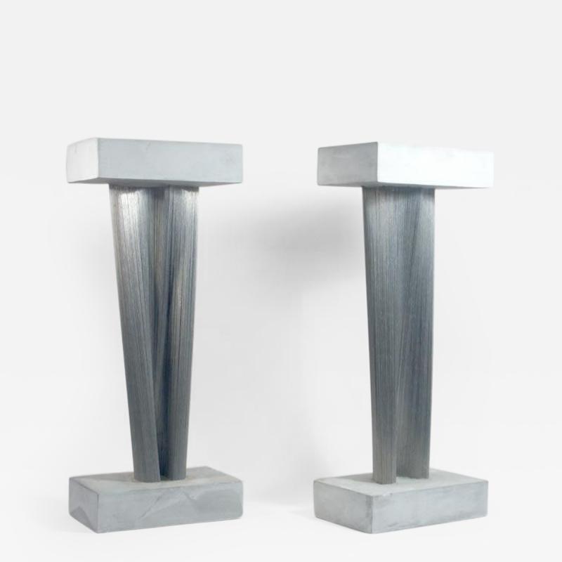 Harry Bertoia Wonderful Pair of Steel and Gypsum Sculptures by Harry Bertoia