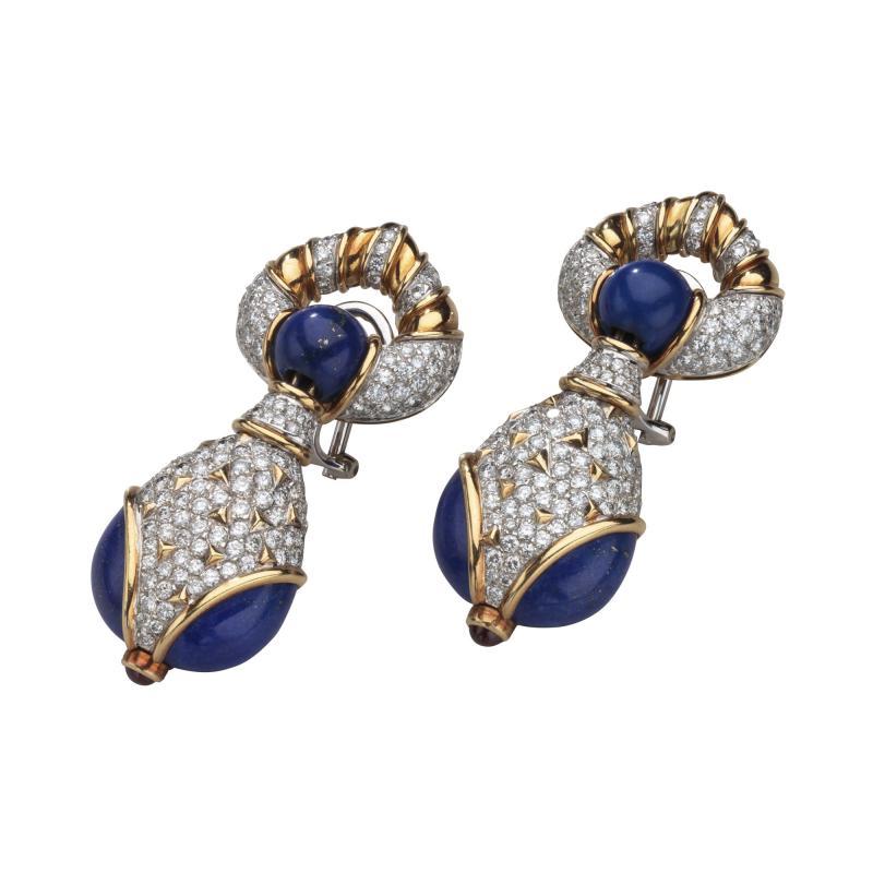 Harry Winston Harry Winston Lapis Diamond and Ruby 18kt White Yellow Gold Earrings