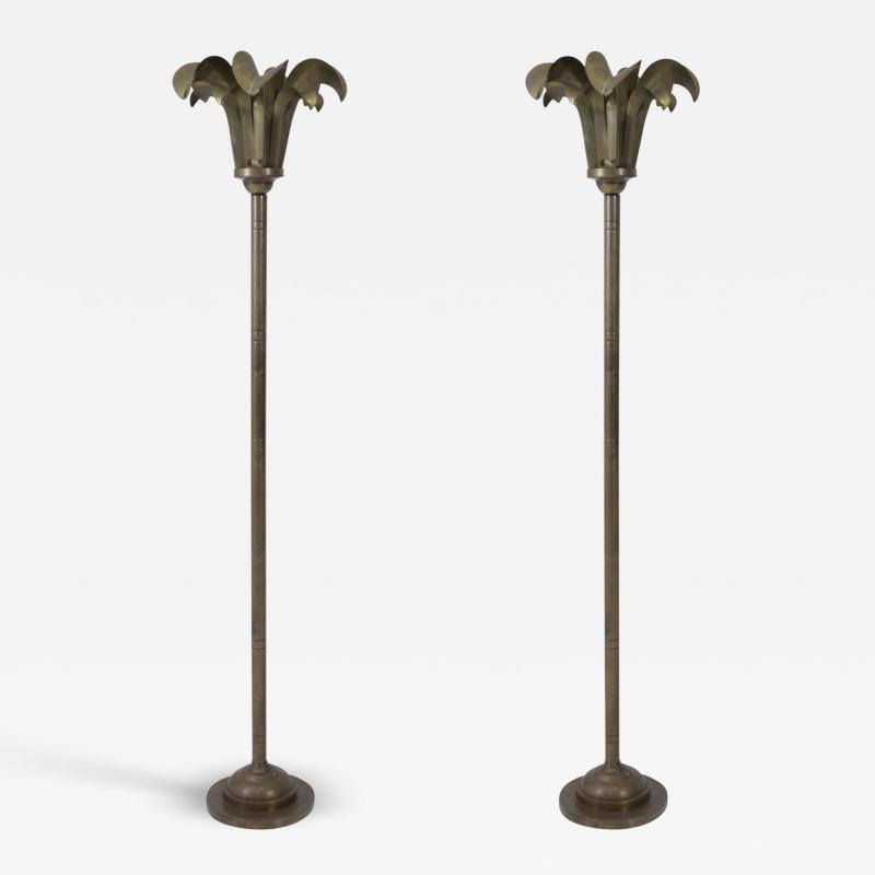 Hart Associates Brass Palm Frond Floor Lamps Hart Associates 1980