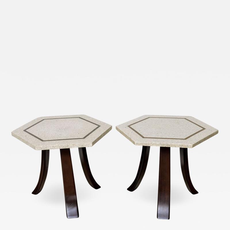 Harvey Probber A Pair of Harvey Probber Terrazzo and Dark Walnut Tables