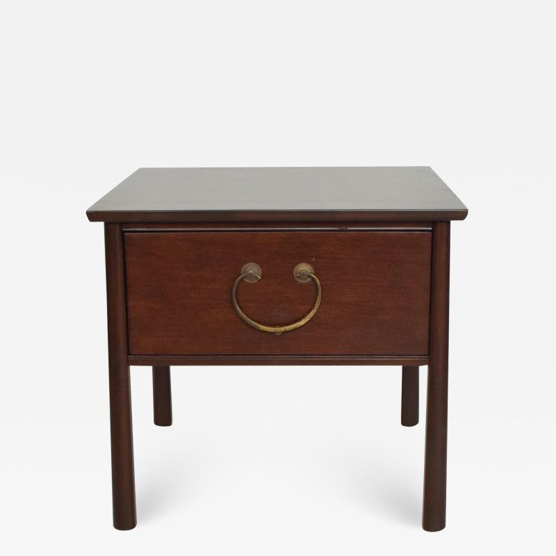 Harvey Probber HENREDON Side End Table by Harvey Probber in Mahogany Big Brass Pull Handle 1950