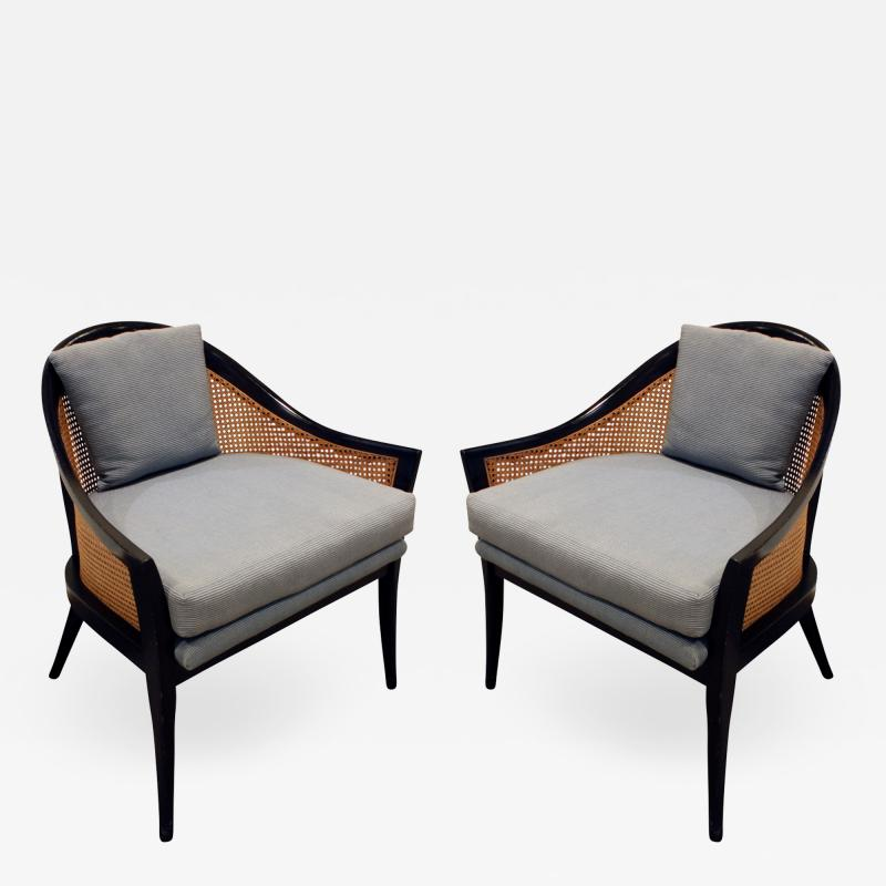 Harvey Probber Harvey Probber Elegant Pair of Lounge Chairs with Caned Backs and Sides 1950s