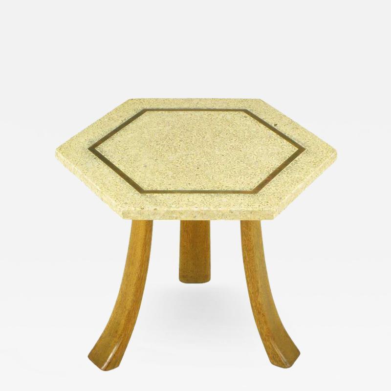 Harvey Probber Harvey Probber Hexagonal Mahogany and Terrazzo Marble Side Table