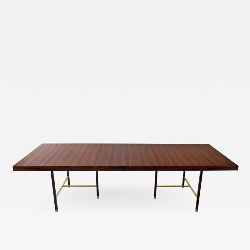 Harvey Probber Harvey Probber Rosewood Dining Table with Extensions and Solid Brass Runners