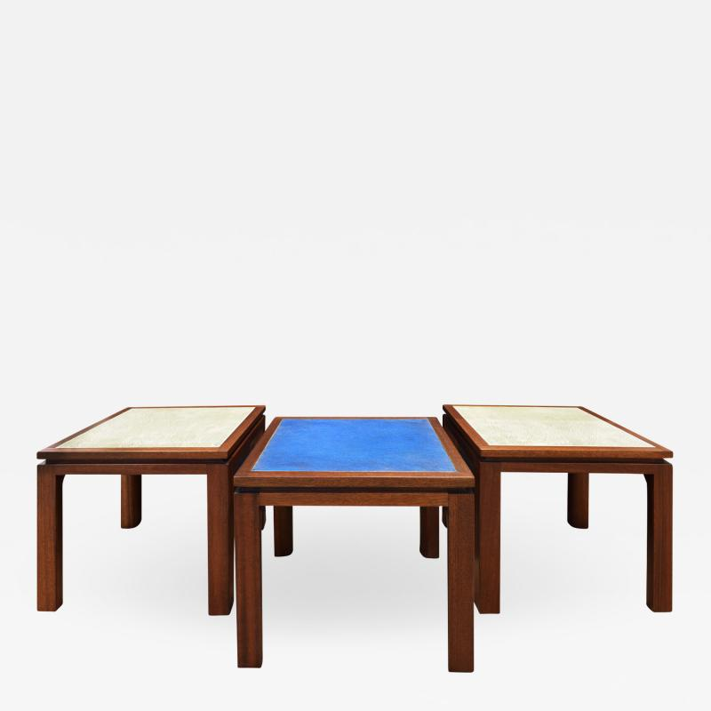 Harvey Probber Harvey Probber Set of 3 Coffee Tables with Enamel on Copper Tops 1950s
