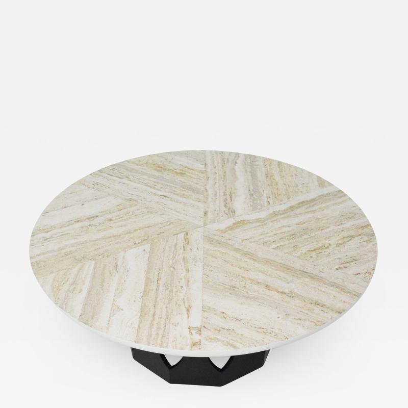 Harvey Probber Harvey Probber Travertine Top Cocktail Table on Pierced Walnut Hexagonal Base