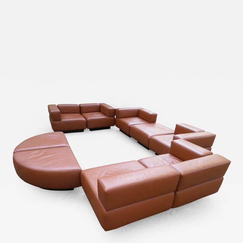 Harvey Probber Magnificent 9 Piece Harvey Probber Caramel Brown Leather Cubo Sectional Sofa