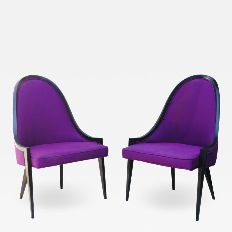 Harvey Probber Pair of Gondola Lounge Arm Side Chairs by Harvey Probber