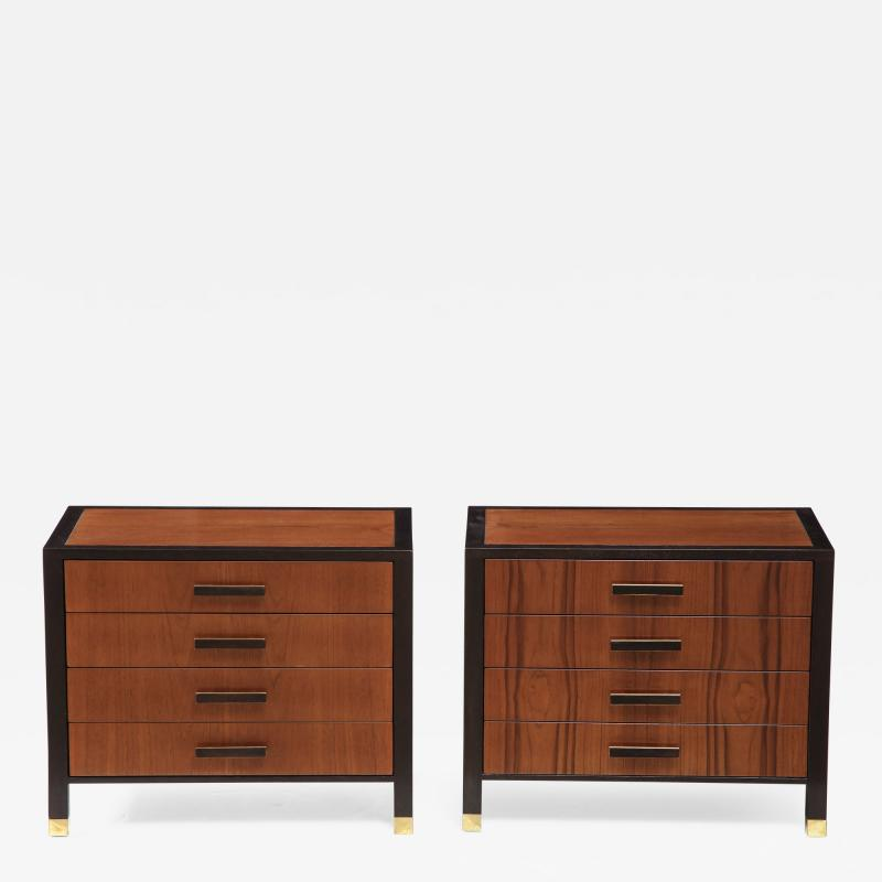 Harvey Probber Pair of Harvey Probber Nightstands End Cabinets in Walnut Ebonized Mahogany