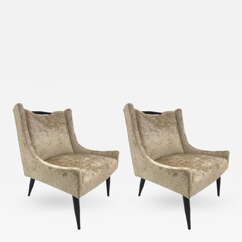 Harvey Probber Pair of Harvey Probber Slipper Chairs in Velvet