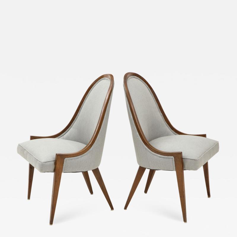 Harvey Probber Pair of Midcentury Harvey Prober Upholstered Slipper Chairs