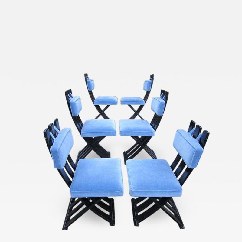 Harvey Probber Set of Six Harvey Probber Ebonized X Base Dining Chairs Mid Century Modern