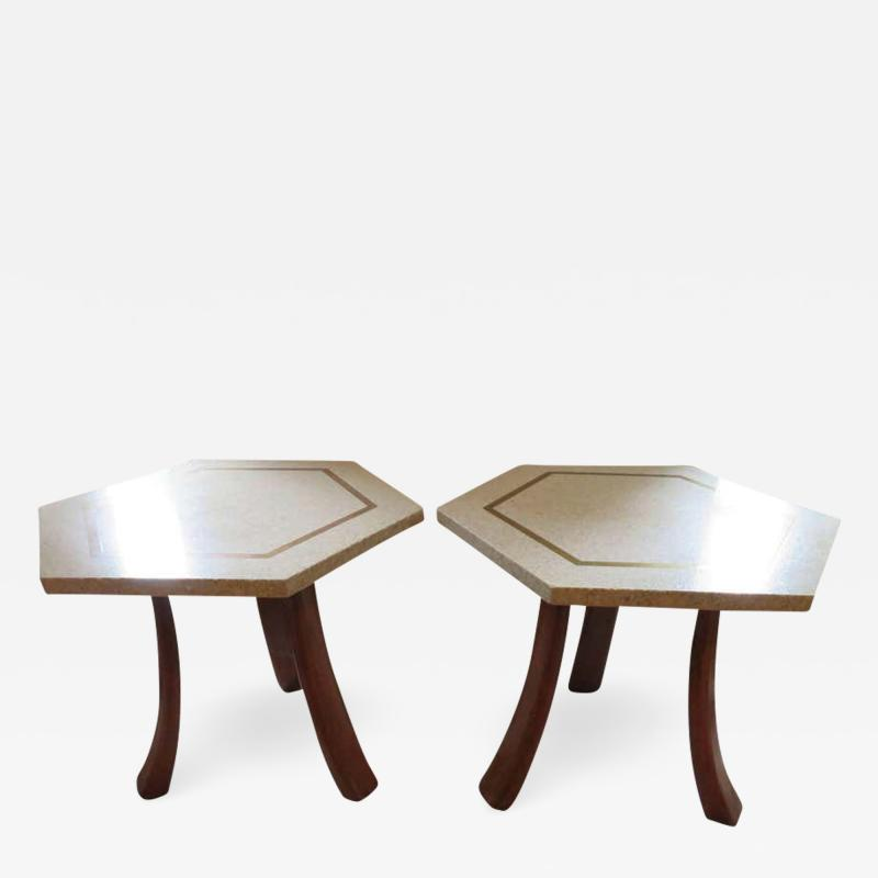 Harvey Probber Stunning Pair of Harvey Probber Brass Inlaid Terrazzo Top Side Tables Midcentury