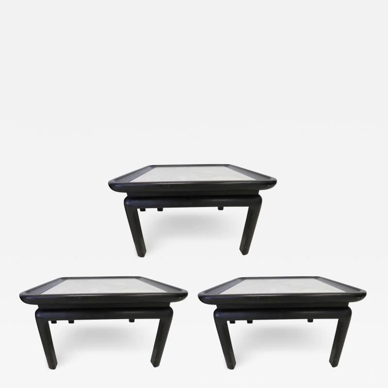 Harvey Probber Stunning Set of Three Harvey Probber Style Marble Side Tables Mid Century Modern