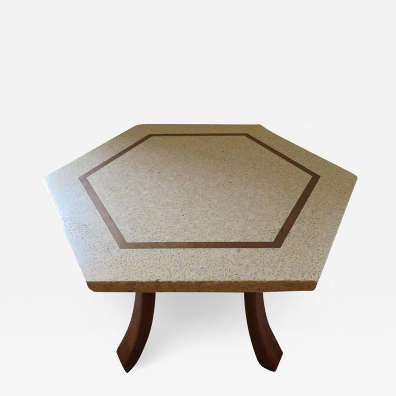 Harvey Probber Wonderful Harvey Probber Terrazzo Brass Inlay Top Mid Century Modern