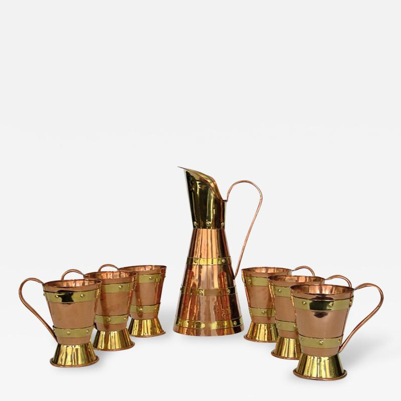 Hector Aguilar Large Handmade Copper Brass Pitcher 6 Cups by Hector Aguilar