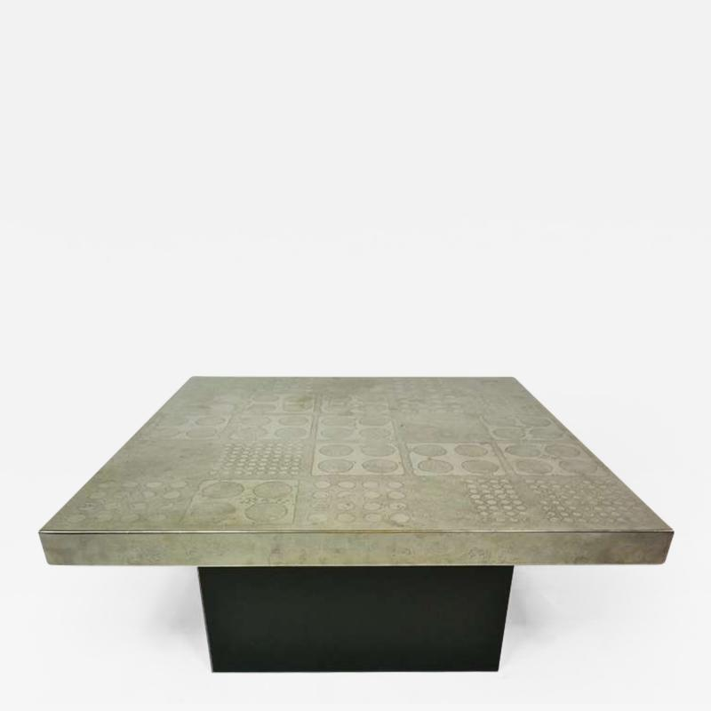 Heinz Lilienthal Etched Metal Coffee Table by Heinz Lilienthal