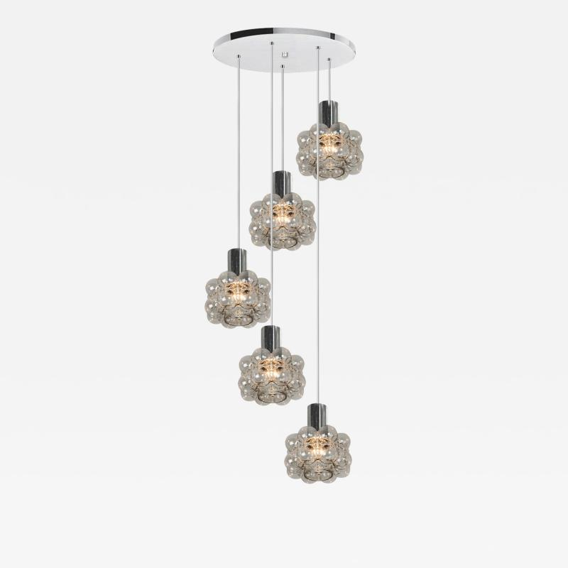 Helena Tynell Cascade Light Fixture with Five Pedant Lights by Helena Tynell 1970s