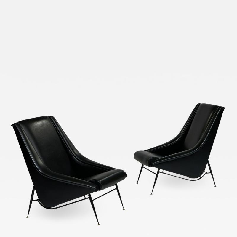 Henri Caillon Pair 1960s French Lounge Chairs by Henri Caillon for Erton