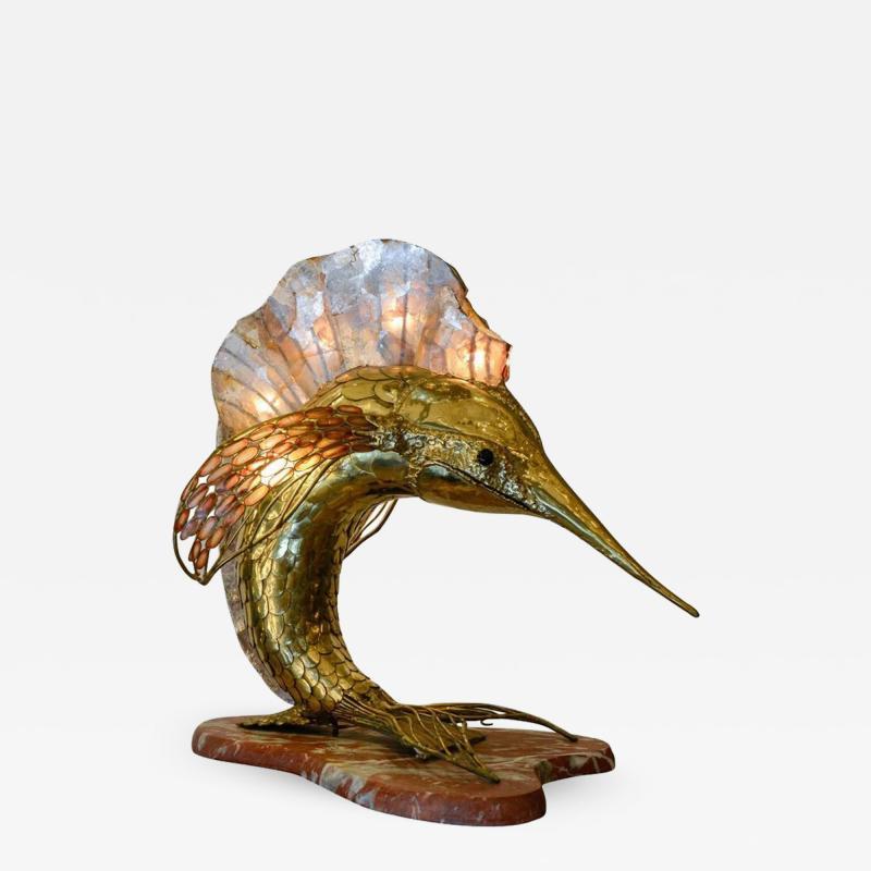 Henri Fernandez Unique Brass Mica and Marble Swordfish Lightning Sculpture