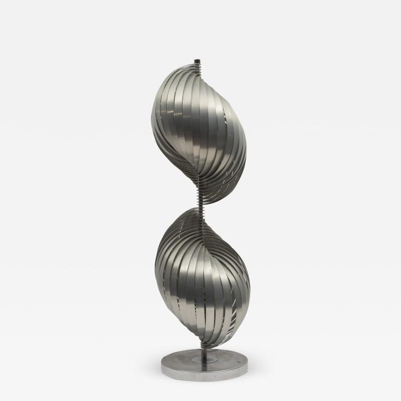 Henri Mathieu Rare Stainless Steel lamp By Henri Mathieu