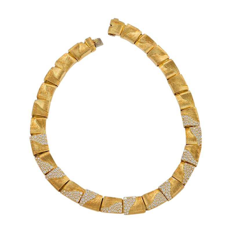 Henry Dunay American Gold Necklace with diamonds by Henry Dunay