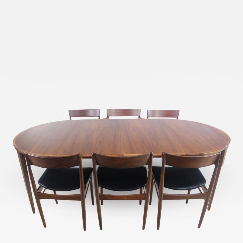 Henry Rosengren Hansen Scandinavian Modern Teak Dining Table Chairs Designed by Rosengren Hansen