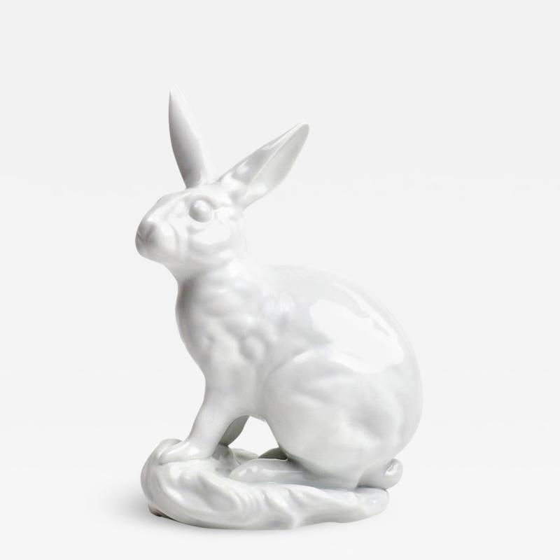 Herend Porcelain White Porcelain Blanc de Chine Rabbit by Eva Vastagh for Herend
