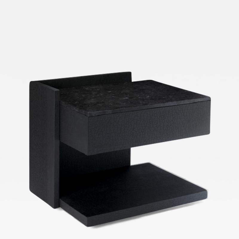 Herv Langlais EQUERRE BEDSIDE TABLE CHARRED WOOD