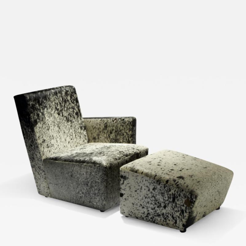 Herv Langlais Petit Frank 1 Armchair with Armrest with Argentinian Cowhide