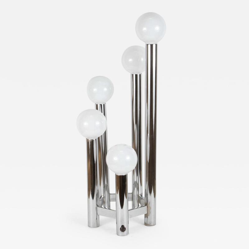 Hexagonal Chrome Tower Table Lamp
