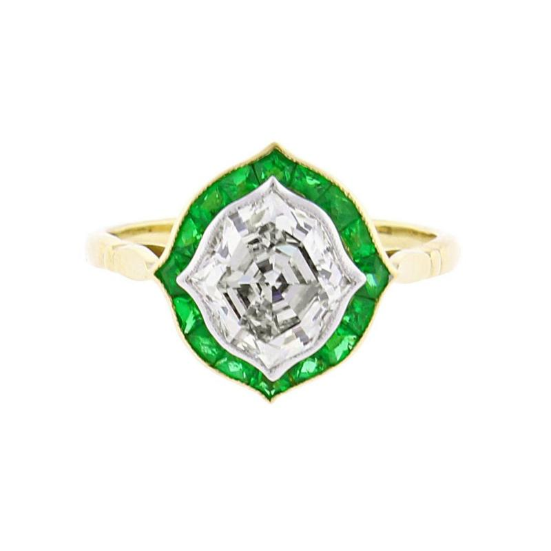 Hexagonal Diamond and Emerald Ring