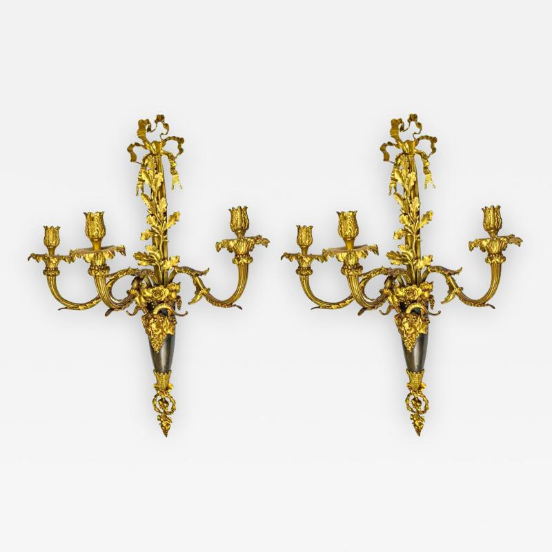 High Quality Pair of Louis XVI Style Gilt and Patinated Bronze Wall Sconces