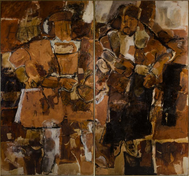 Hilda O Connell Abstract Expressionist Diptych by Hilda OConnell 1965