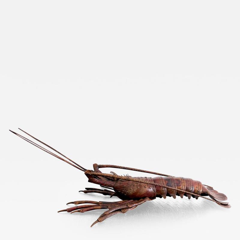 Hiroyoshi Myochin Large Japanese Articulate Lobster Okimono Meiji Period Signed