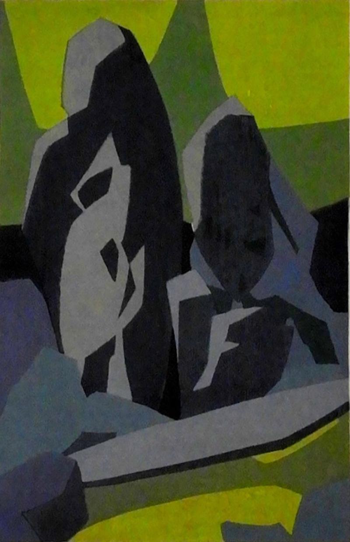 Hodaka Yoshida Daisen in Garden a Woodblock Print by Hodaka Yoshida 1953