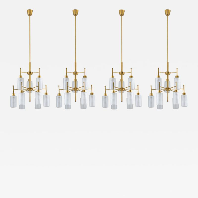 Holger Johansson Swedish Chandeliers in Brass and Glass by Holger Johansson