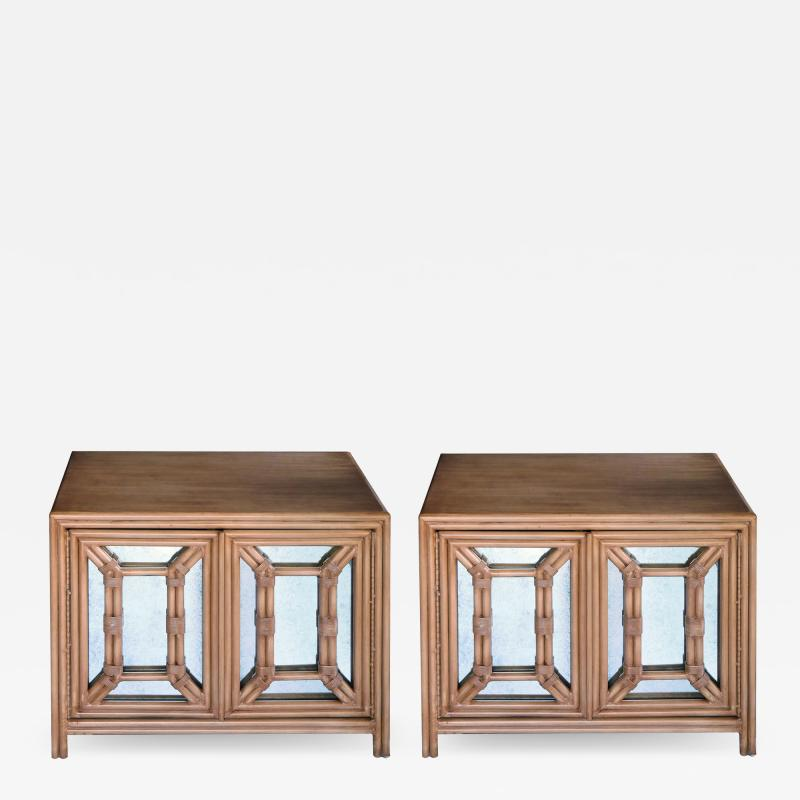 Hollywood Regency Painted Faux Bamboo and Mirrored 2 door Cabinets