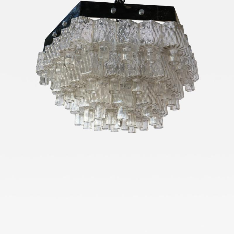 Honeycomb 1960s Italian Chrome and Glass Chandelier