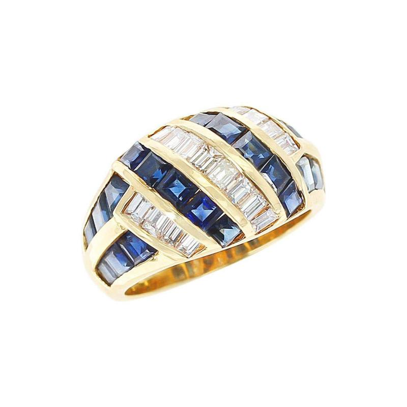 Horizontally and Vertically Invisibly Set Sapphire and Diamond Ring 18K Yellow