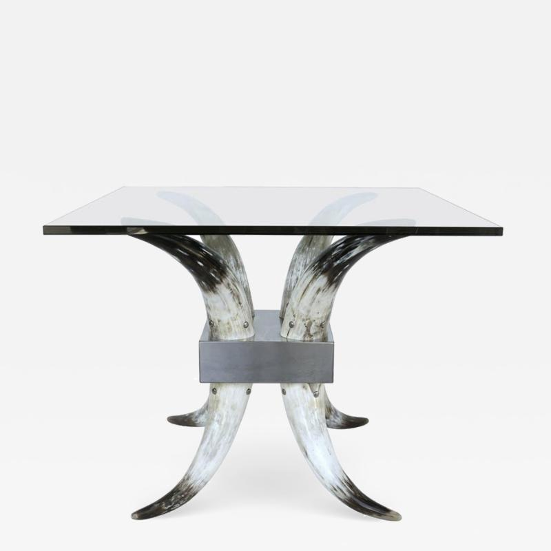 Horn Stainless Steel and Glass Center Table